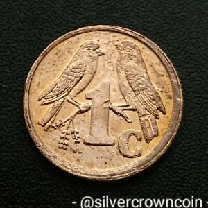 ISEWULA SOUTH AFRICA 1 CENT 1997. KM170. ONE PENNY COIN. SPARROWS. BIRDS.