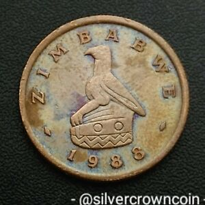 ZIMBABWE 1 CENT 1988. KM1. ONE PENNY COIN. BIRD STATUE. LAST YEAR ISSUE.