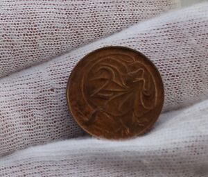 1967 AUSTRALIA 2 CENTS COIN FRILL NECKED LIZARD; CIRCULATED