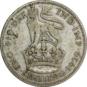 GREAT BRITAIN 1929 1 SHILLING KM833   WORLD SILVER