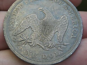 1844 SEATED LIBERTY SILVER DOLLAR  XF DETAILS  DATE