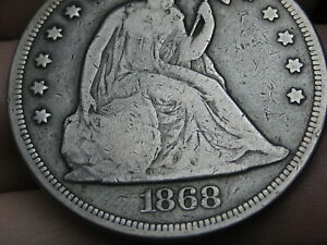 1868 SEATED LIBERTY SILVER DOLLAR  FINE DETAILS