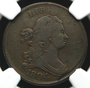 1804 DOUBLE STRUCK DRAPED BUST HALF CENT NGC VF DETAILS IMPROPERLY CLEANED