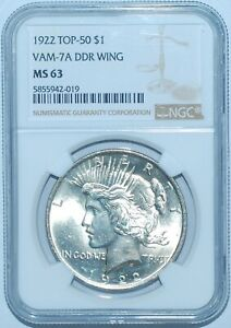 1922 P NGC MS63 VAM 7A TOP 50 DDR DOUBLED WING PEACE SILVER DOLLAR