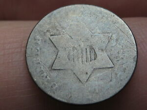 1853 THREE 3 CENT SILVER TRIME  OLD TYPE COIN