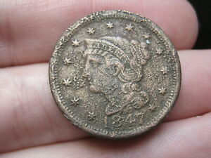 1847 BRAIDED HAIR LARGE CENT PENNY  FINE/VF DETAILS METAL DETECTOR FIND?
