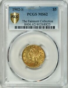 1902 S US $5.00 LIBERTY GOLD  MINT ERROR  CLIP  PCGS MS62