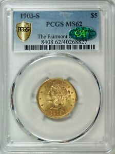 1903 S US $5.00 LIBERTY GOLD  MINT ERROR  CLIP  PCGS MS62   CAC