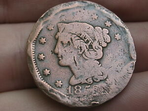 1852 BRAIDED HAIR LARGE CENT PENNY  VG DETAILS