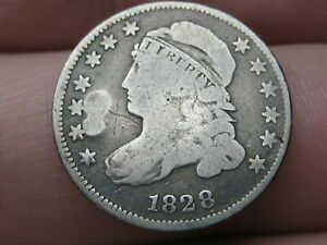 1828 SILVER CAPPED BUST DIME  VG DETAILS SMALL DATE