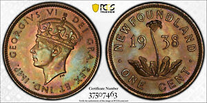 NEWFOUNDLAND CANADA 1938 GEORGE VI CENT. PCGS MS 65. 500 000 MINTAGE.