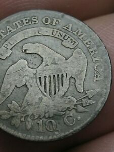 1825 CAPPED BUST SILVER DIME  GOOD/VG DETAILS