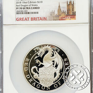 Click now to see the BUY IT NOW Price! 2018 NGC PF 70 ULTRA CAMEO 10 OZ SILVER PROOF COIN QUEEN  BEASTS RED DRAGON