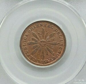 Click now to see the BUY IT NOW Price! 1854/40 URUGUAY REP. COPPER 5 CENTESIMOS PCGS MS 63