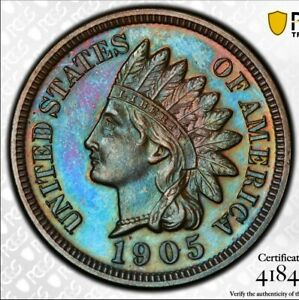 Click now to see the BUY IT NOW Price! BEAUTIFULLY BLUE TONED 1905 PROOF INDIAN HEAD CENT PCGS PR65BN