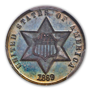 Click now to see the BUY IT NOW Price! 1869/8 3CS THREE CENT SILVER PCGS PR66   CAC