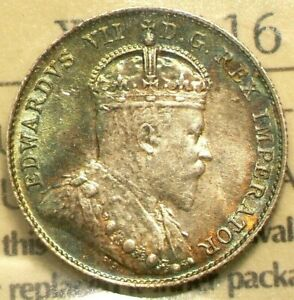1902 H CANADA 10 CENTS ICCS MS64 BEAUTIFUL BRIGHT GREEN TONING 5163