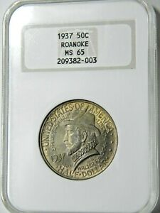 1937 ROANOKE VA 50C NGC MS 65 IN PRISTINE 30 YEAR OLD NGC BRICK WITH DEEP COLOR