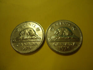 TWO CANADIAN COINS     1975 1976 NICKELS       USA SELLER