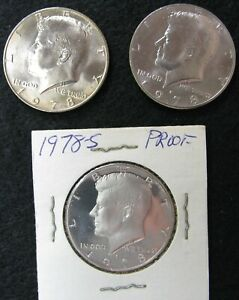 LOT OF 3 CLAD KENNEDY HALF DOLLARS 1978 P D AND S  PDS  UNCIRCULATED AND PROOF