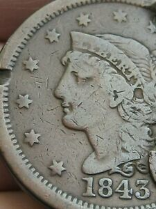 1843 BRAIDED HAIR LARGE CENT PENNY MATURE HEAD LARGE LETTERS FINE DETAILS