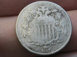 1867 SHIELD NICKEL 5 CENT PIECE  WITH RAYS  DIE CRACK VG DETAILS