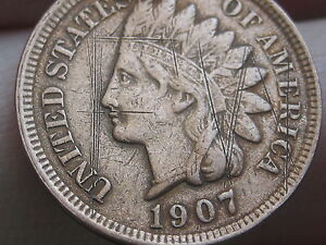 1907 INDIAN HEAD CENT PENNY XF DETAILS DIAMONDS