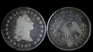 1795 $1 FLOWING HAIR SILVER DOLLAR  2 LEAVES PCGS VG10 EARLY US TYPE B 1 BB 21