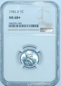 Click now to see the BUY IT NOW Price! 1943 D NGC MS68  LINCOLN WHEAT STEEL CENT TIED FOR FINEST REGISTRY