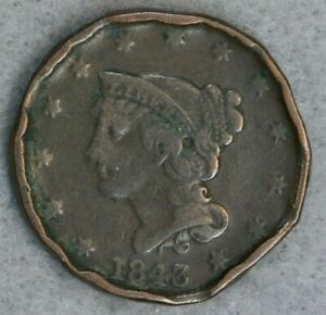 1843 1C BRAIDED HAIR LARGE CENT DAMAGED RING COIN? US TYPE COIN BWB75