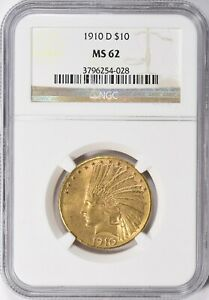 1910 D INDIAN HEAD EAGLE $10 GOLD NGC MS62