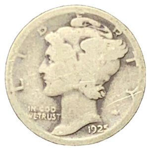 1925 D MERCURY SILVER DIME VG EXACT COIN PICTURED