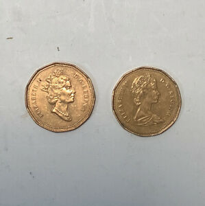LOT OF 2 CANADA $1 LOONIE COINS 1989 & 1990 CIRCULATED CONDITION