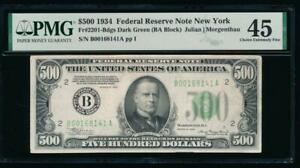 AC 1934 $500 FIVE HUNDRED DOLLAR BILL NEW YORK PMG 45 COMMENT