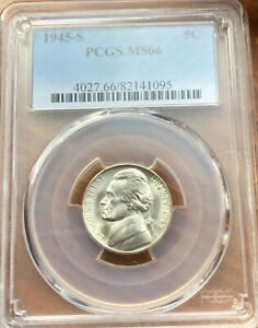 1945 S SILVER WARTIME ISSUE US JEFFERSON NICKEL PCGS MS66 NICE COIN