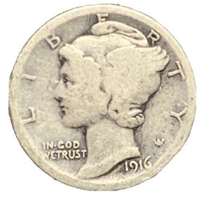 1916 P MERCURY DIME VG SILVER | EXACT COIN PICTURED |   7029
