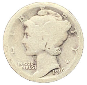 1916 P MERCURY DIME SILVER 1ST YEAR | EXACT COIN PICTURED |   7232