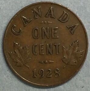 1928 CANADA ONE CENT ONE PENNY COPPER COIN KING GEORGE V SS778