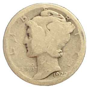 1920 S MERCURY DIME  AG  SILVER   EXACT COIN PICTURED    7285