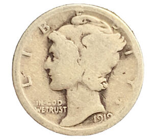 1919 P MERCURY DIME  G  SILVER | EXACT COIN PICTURED |  7306