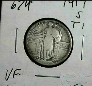 1917 S STANDING LIBERTY TYPE 1 25 CENTS FINE 30     674