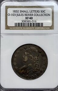 1832 CAPPED BUST 50C SILVER HALF DOLLAR NGC XF 40 O 103 JULES REIVER COLLECTION
