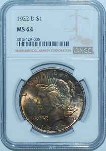 1922 D NGC MS64 VAM 2A1 PEACE SILVER DOLLAR GREAT COLOR