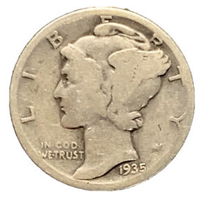 1935 S GOOD BETTER DATE MERCURY DIME SILVER COIN    7334