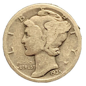 1935 S GOOD BETTER DATE MERCURY DIME SILVER COIN    7335