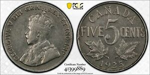 CANADA 1925 GEORGE V FIVE CENTS 5 CENTS. PCGS XF 45. 201 921 MINTAGE.