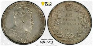 CANADA 1907 EDWARD VII FIFTY CENTS 50 CENTS. PCGS XF 45. 300 000 MINTAGE.
