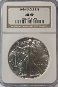 1986 AMERICAN SILVER EAGLE NGC MS69  NICE COIN