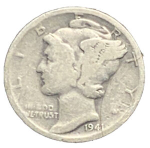 1941 S MERCURY DIME VG EXACT COIN PICTURED |   7417