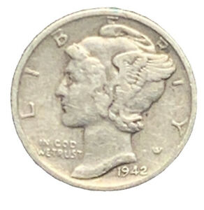 1942 S VF MERCURY DIME FINE EXACT COIN PICTURED |   7425